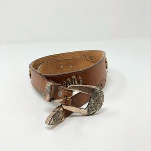 Vintage Genuine Leather Brown and Gold Animal Belt